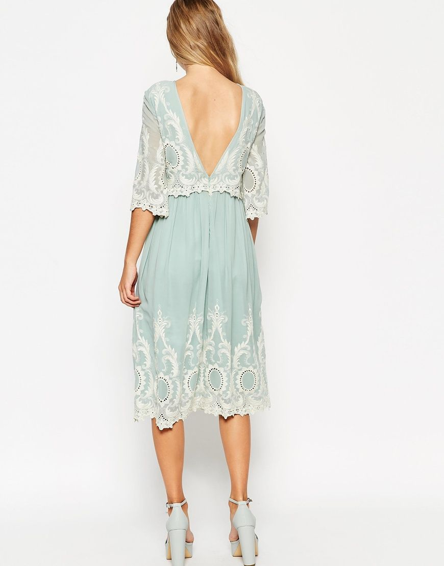 Double layer midi dress with contrast embroidery and beading midi