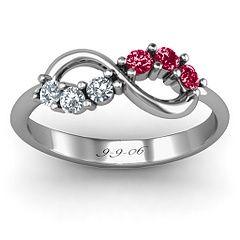 Split Birthstone Infinity Ring