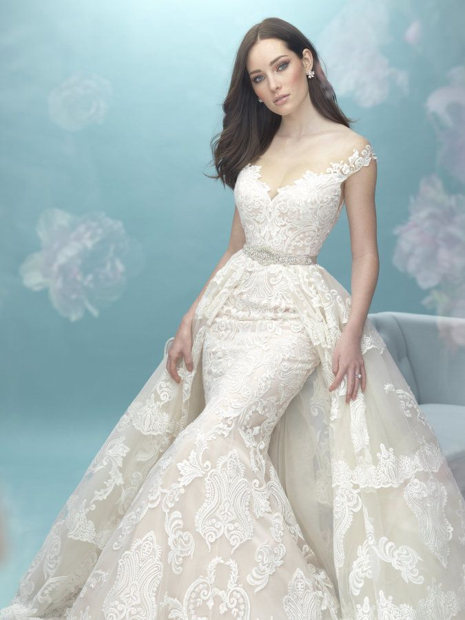 Chic embroidered double skirt wedding gown: http://www.style ...