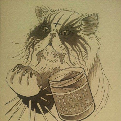peanut butter black metal cat