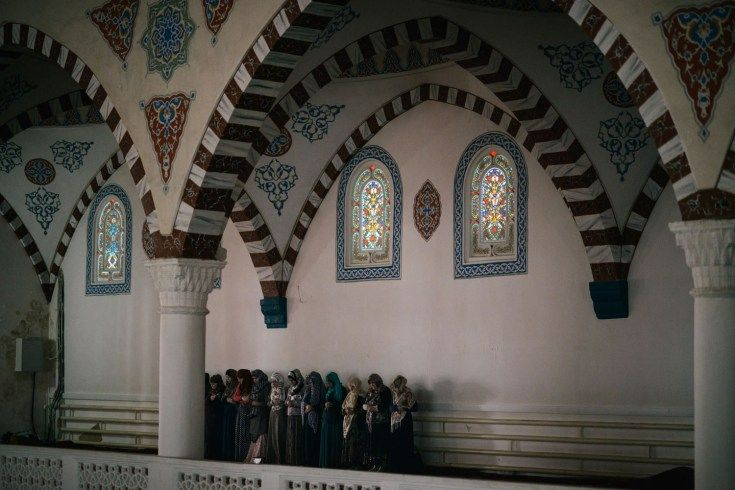 Worshippers at a Makhachkala mosque.