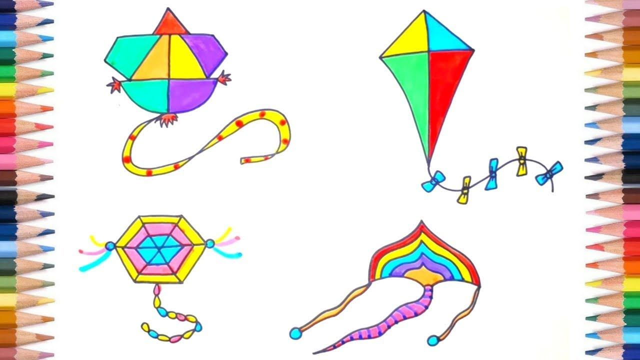 How To Draw Kite Flying Easy Easy Drawings Kites For Kids Kite