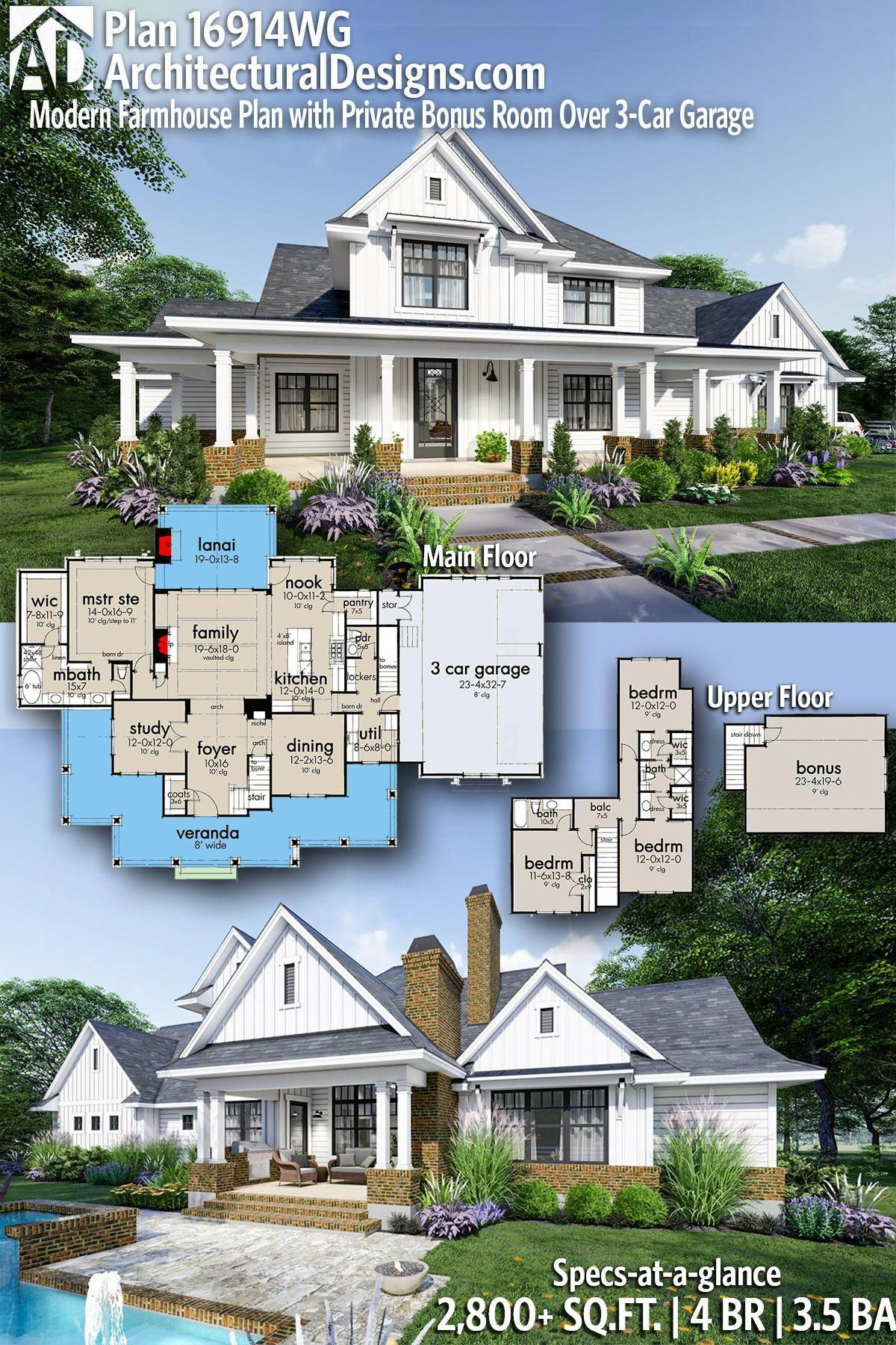 Architectural Designs New American Plan 16914wg Gives You 4 Bedrooms 3 5 Baths And 2 800 Sq Ft In 2020 Modern Farmhouse Plans Farmhouse Plans House Plans Farmhouse