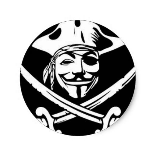 Anonymous pirate classic round stickers x3