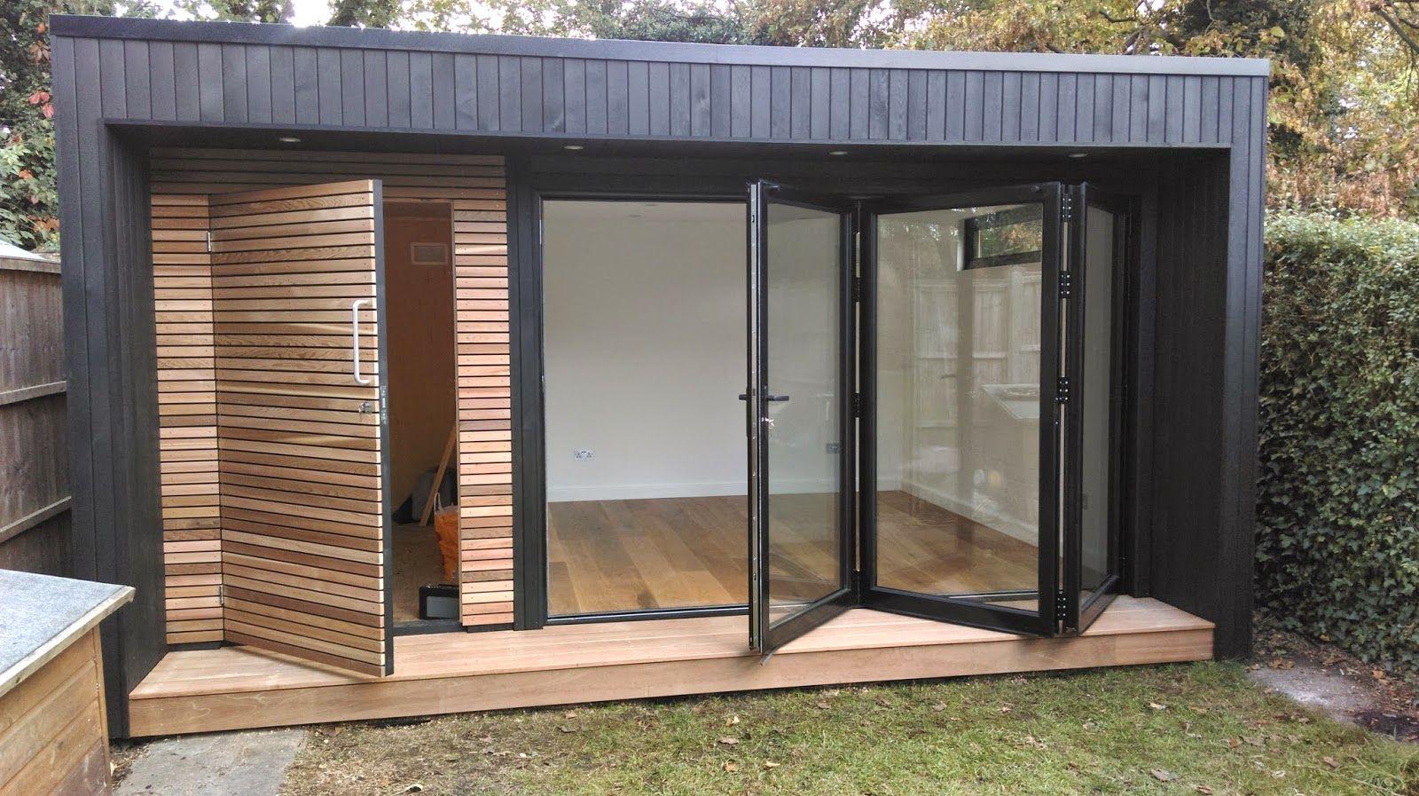 Garden room with contrasting cedar cladding and bi fold for Portable garden room