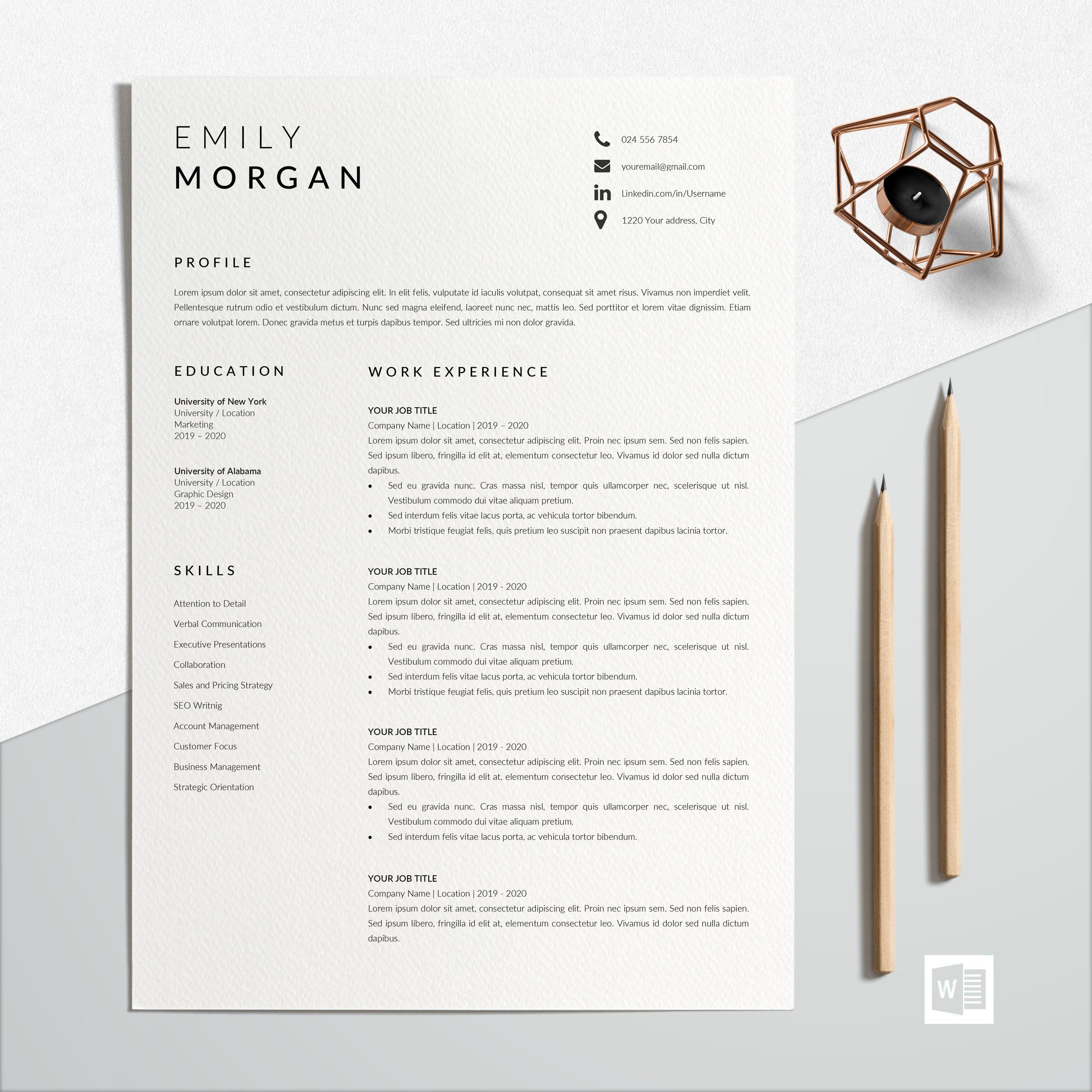 Professional Resume Design Cv Template Word Cv Resume Template
