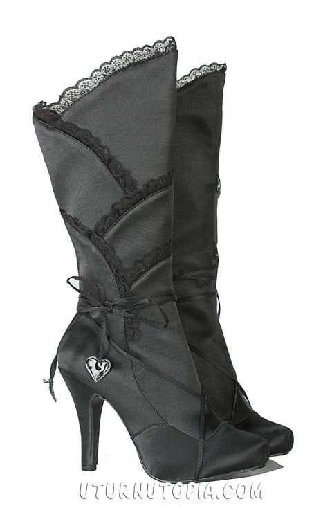 Ellie Shoes 400-GOTHIKA 4 Inch Satin Knee High Boot