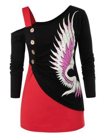 Plus Size Colorblock Skew Neck Wings Print Graphic T Shirt 2