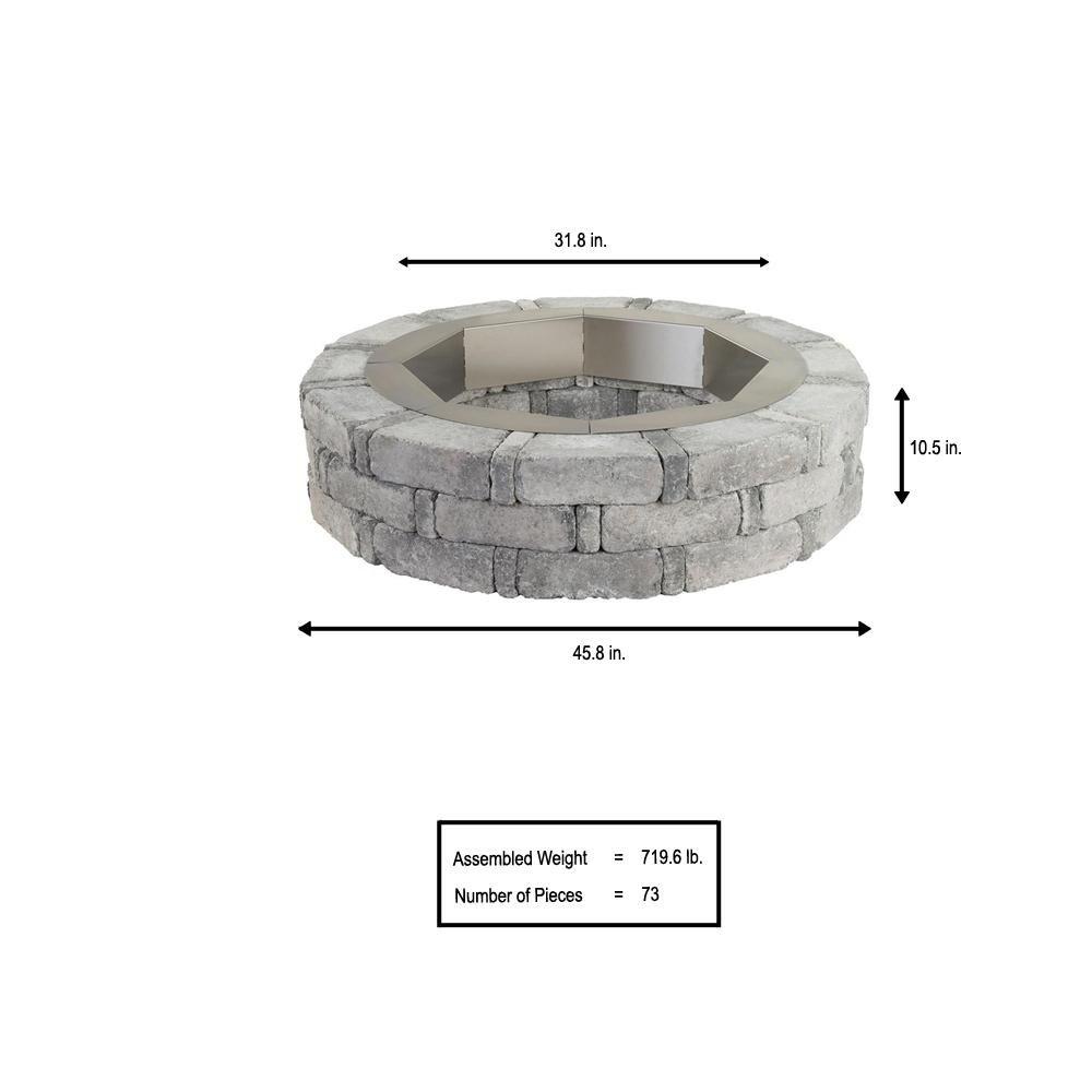 Pavestone RumbleStone 46 in. x 10.5 in. Round Concrete ...
