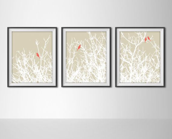 Birds on Tree Branches Set of 3 Art Prints - Woodland, Natural Modern Home Decor - Taupe Tan & Coral Salmon - Tree Branch Silhouette Birds
