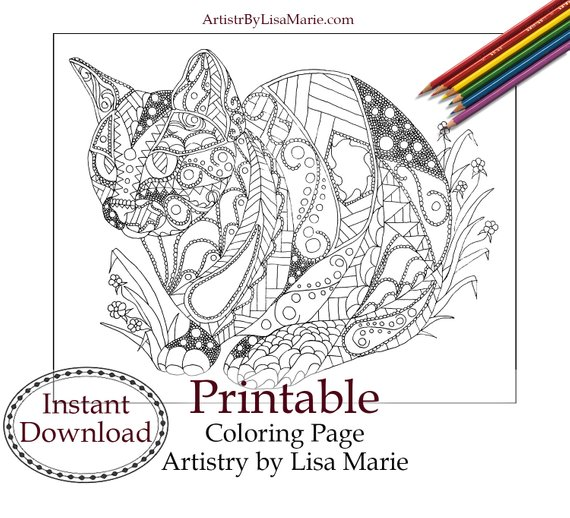 Cat Coloring Page Adult Coloring Page Geometric Pattern