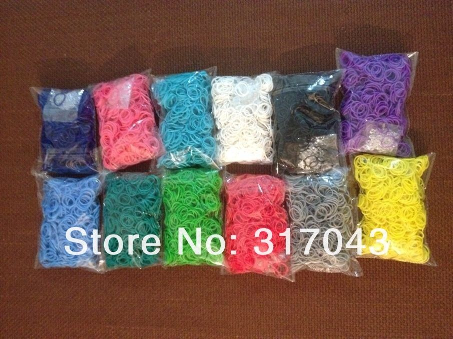 Free FedEx shipping 100sets / lot rainbow rubber bands loom kit RefillsTwistz Bands 600bands+24S Clips for DIY bracelets-in Special Store fr...