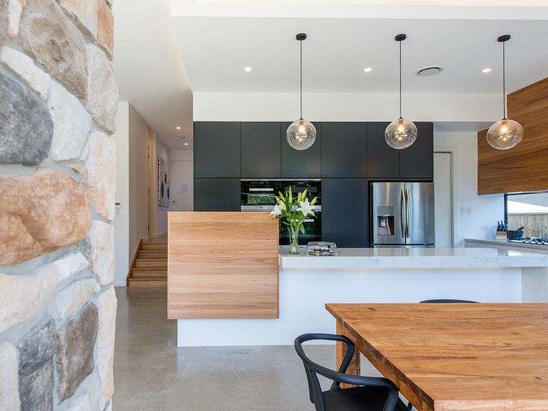 Charcoal, Timber And White Modern Kitchen
