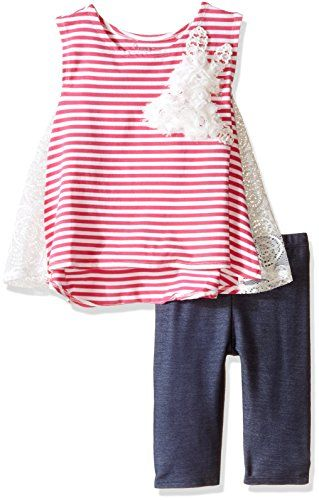 Pippa  Julie Little Girls Pink and White Striped Knit Set Multi 5 * For more information, visit image link.Note:It is affiliate link to Amazon.