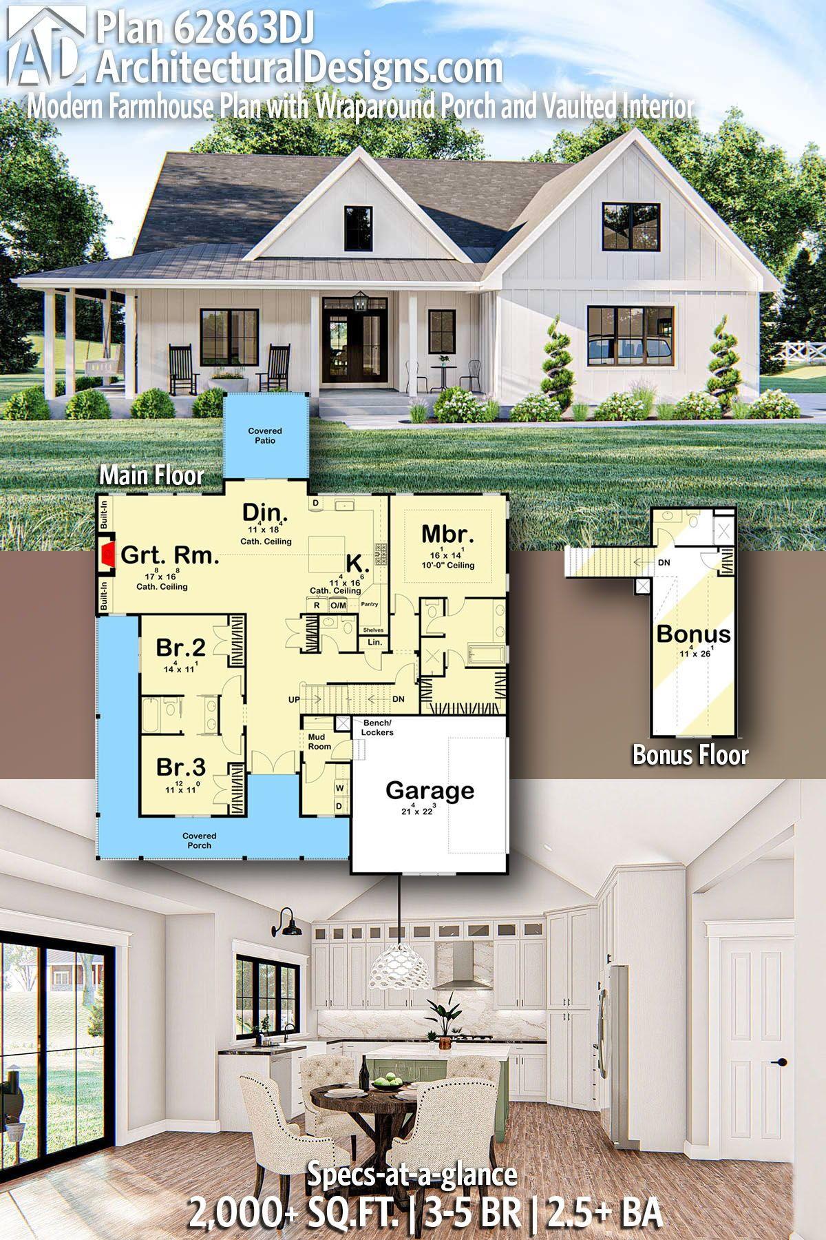 Plan 62863dj Modern Farmhouse Plan With Wraparound Porch And