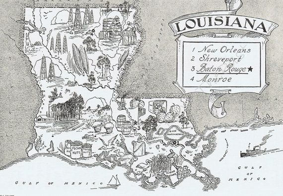 Vintage LOUISIANA Map, Adorable, Beautifully Illustrated, Perfect ...
