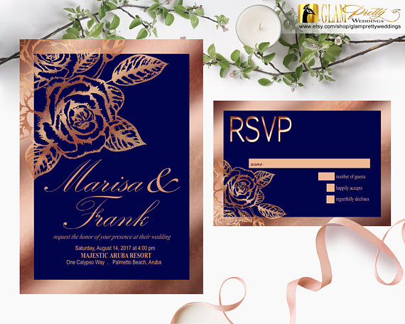 Navy Rose Gold Wedding Invitation With Rsvp Card Metallic Foil Royal