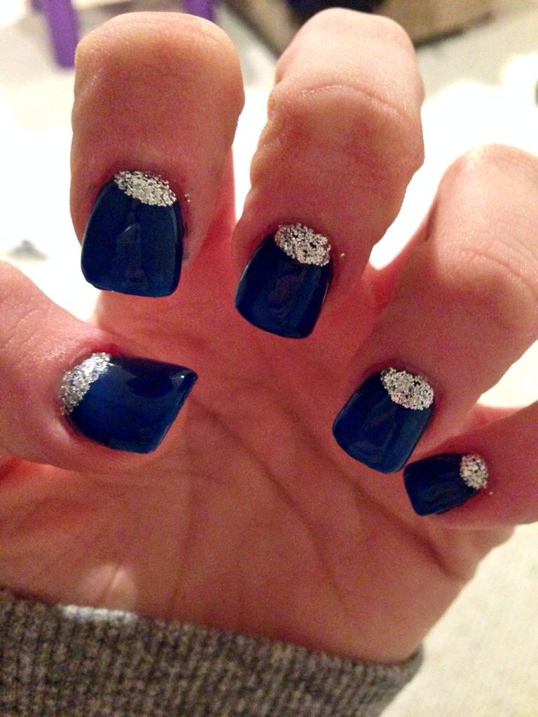 Homecoming nails nails homecoming homecomingnails blue sparkly
