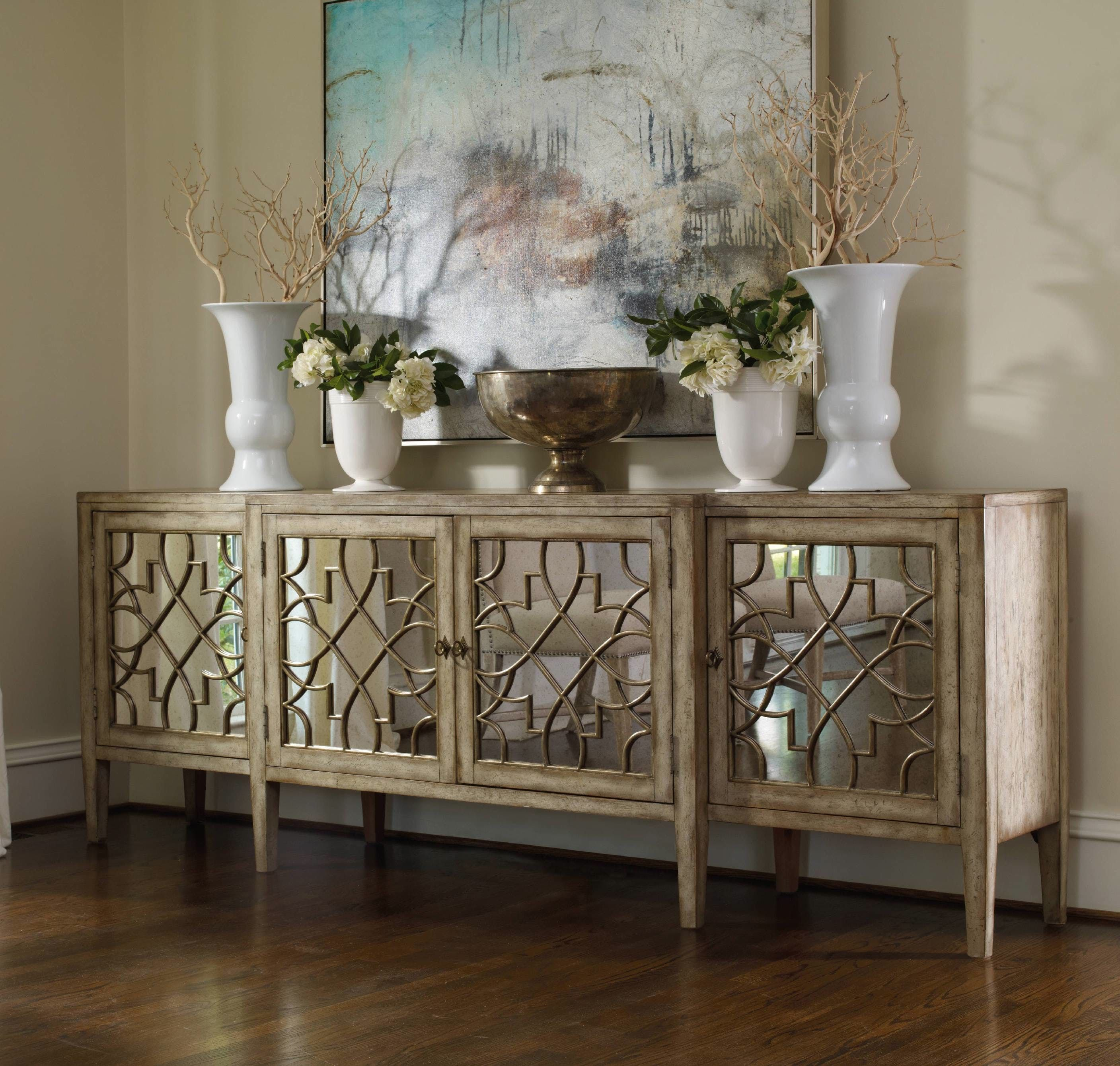 Great Hooker Furniture Living Room Sanctuary Four Door Mirrored Console    Surf Visage 3013
