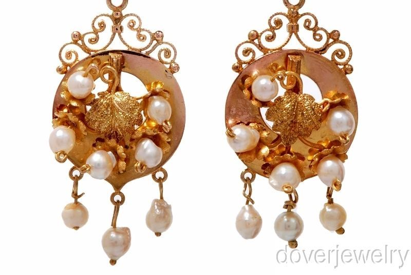 Antique Pearl 18K Gold Flower Lead Drop Dangle Earrings 6.3 Grams NR