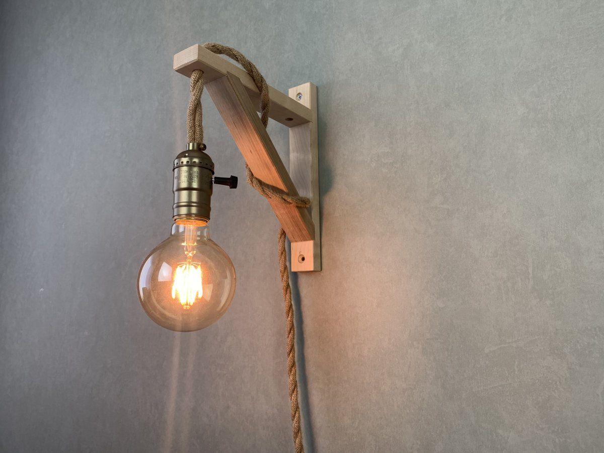 Wandlamp Touw Hout Wandlamp Touw Verlichting Touw Lamp