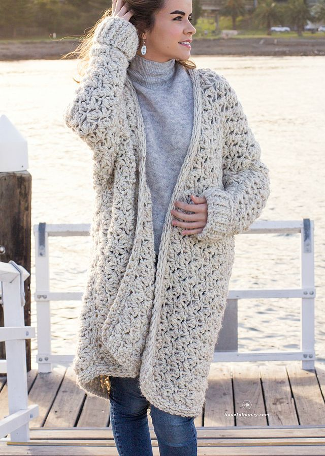 Coastal Fog Chunky Cardigan Crochet Pattern (Hopeful Honey ...