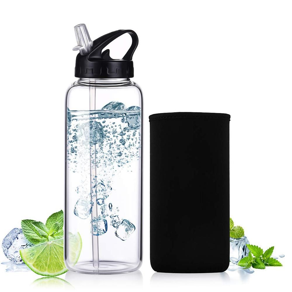 1 Liter Glass Water Bottle Water Bottle Glass Water Bottle Custom Water Bottles