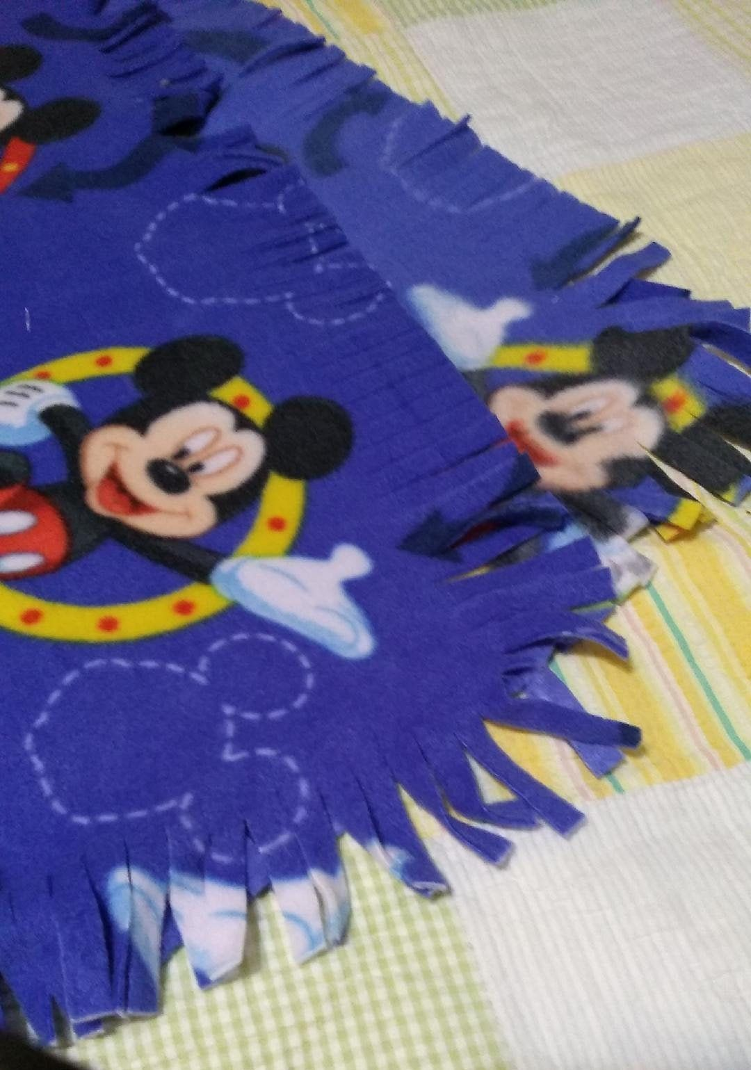 Micky Cuddle Fleece Blanket with crochet edge