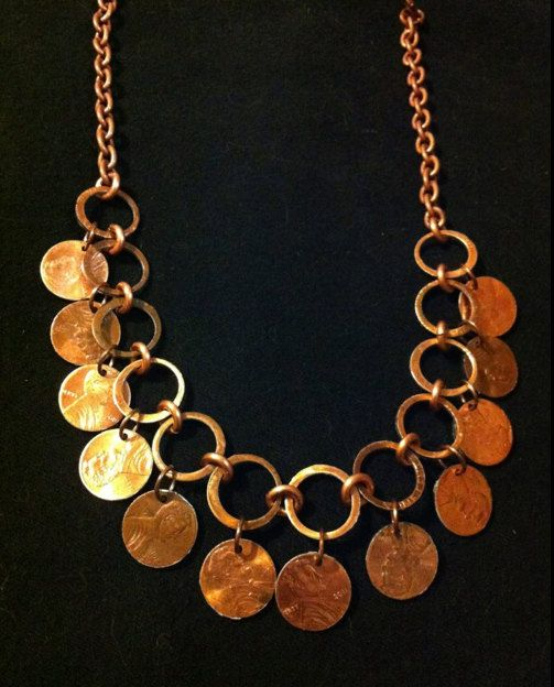 Tribal Style Penny Necklace, Handmade Adjustable Choker, Pennies Dangle on Copper Chain, Lucky Penny Jewelry, Unique Gift