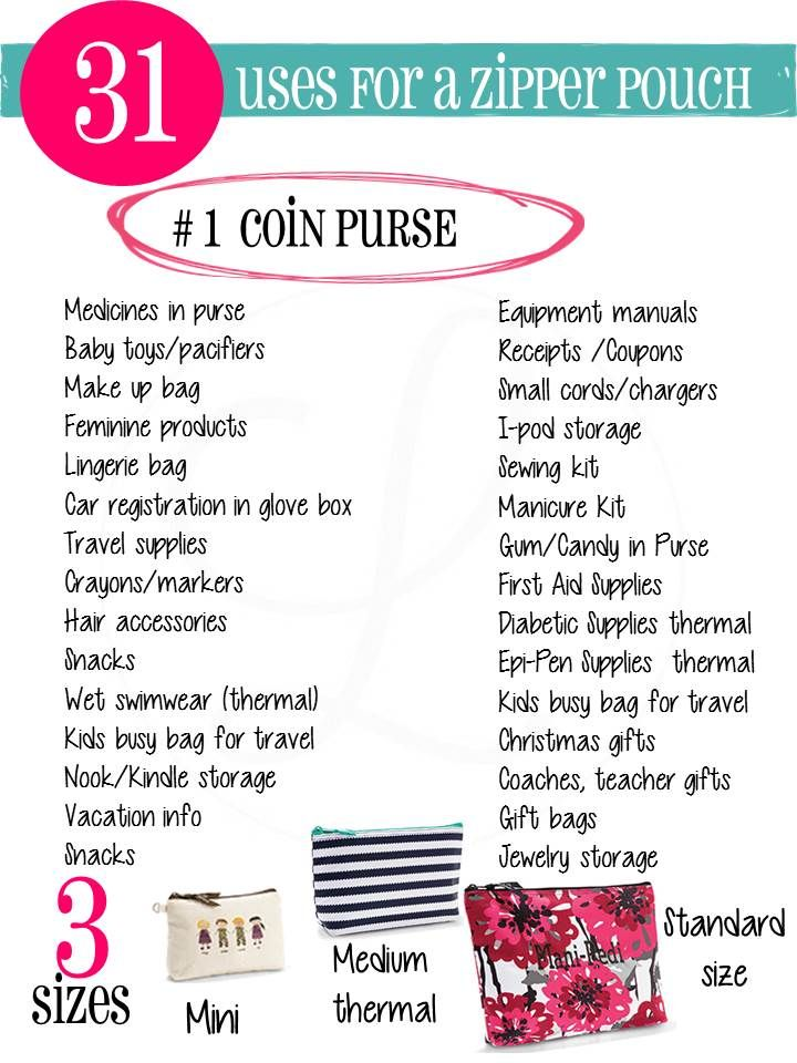 31 uses for coin purse or Zipper pouches