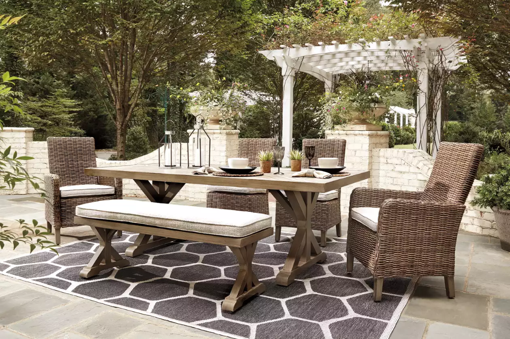 Beachcroft Outdoor Dining Table And 4 Chairs And Bench Ashley Furniture Homestore Outdoor Dining Set Outdoor Dining Outdoor Dining Table