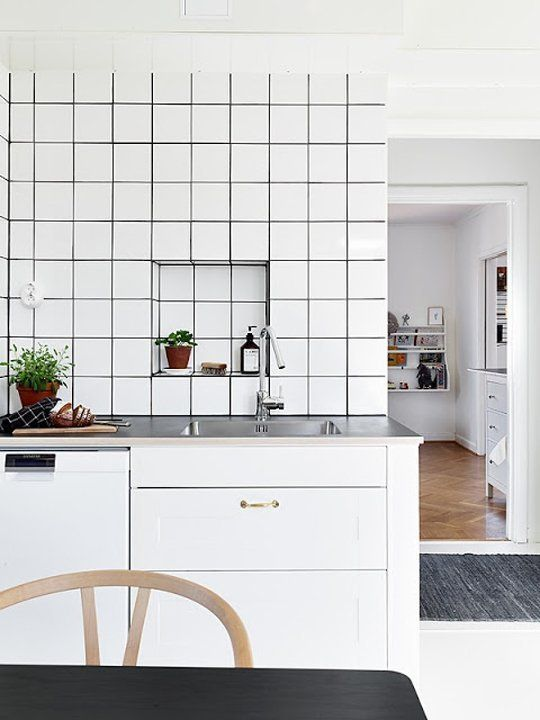 How To Pull Off This Easy To Clean Affordable Trend Square White Tiles Dark Grout Trendy Kitchen Tile Kitchen Interior Kitchen Renovation