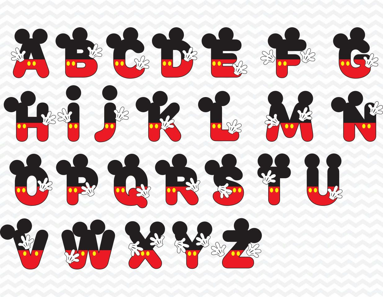 Mickey Alphabet - Mickey Alphabets - Mickey Alphabets