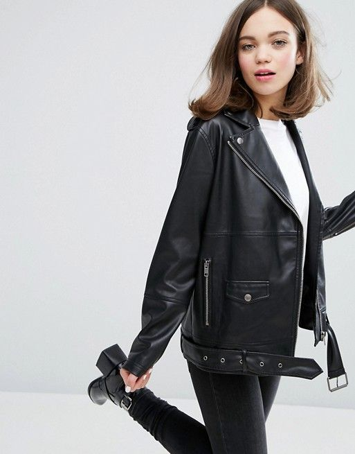 195f66e1a Oversized black faux leather perfecto jacket   Coats & Jackets ...