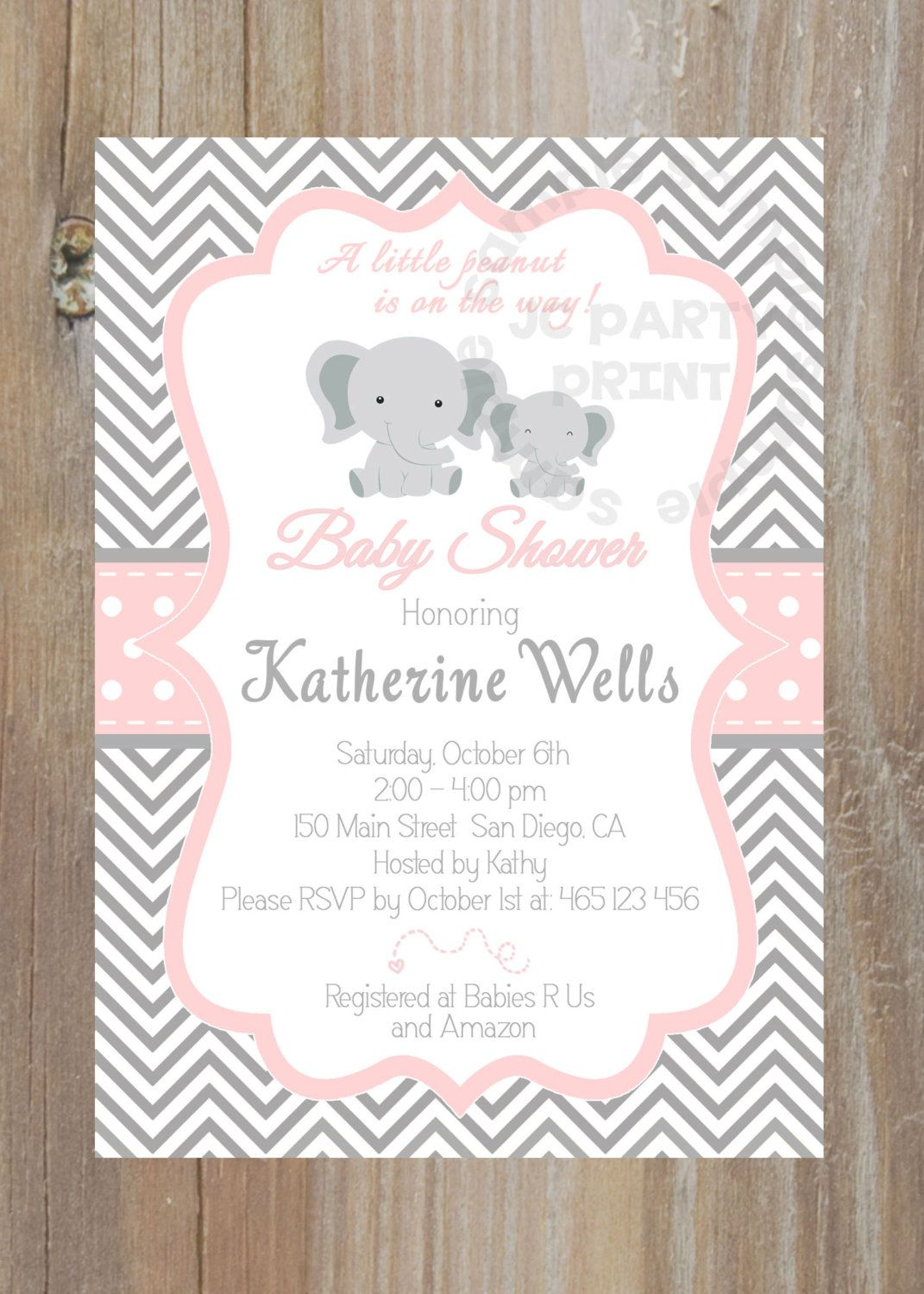 Elephant baby shower. Girl baby shower Invitation. Little Peanut ...