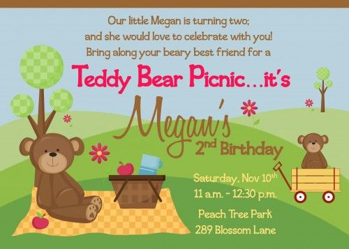 Teddy Bear Picnic Tea Birthday Party Invitation – Teddy Bears Picnic Party Invitations