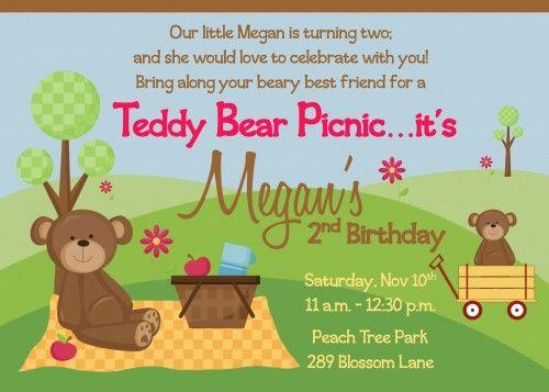 Teddy Bear Picnic Birthday Party Invitation Ellie\u0027s 2nd Birthday