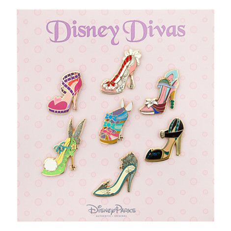 <3 the Elsa, Anna, and Jessica ones...as well as the 3 Good Fairies, Tink, Mary Poppins, & Mulan~Disney Divas Runway Shoe Pin Set