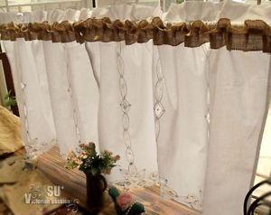 Superb Burlap And Lace Curtains Chic Burlap Window Cafe