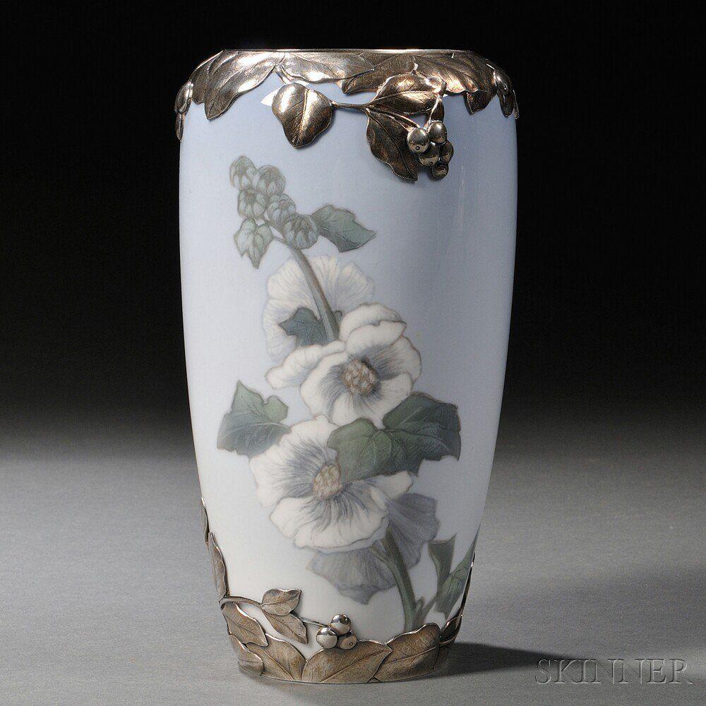 Royal copenhagen sterling silver mounted porcelain vase wth royal copenhagen sterling silver mounted porcelain vase wth hollyhock design 1915 reviewsmspy