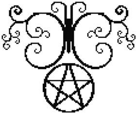 Swirl Butterfly Pentacle Counted Cross Stitch Pagan