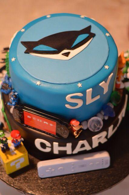 Video game boy birthday cake Sly Cooper marioHaloNascarMario
