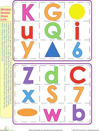 Worksheets: Play Alphabet, Number, and Shape Bingo