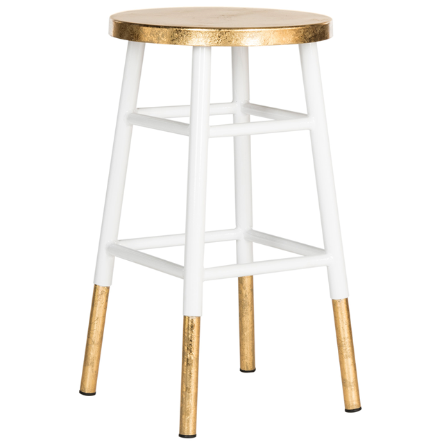 Emery White & Gold Counter Stool