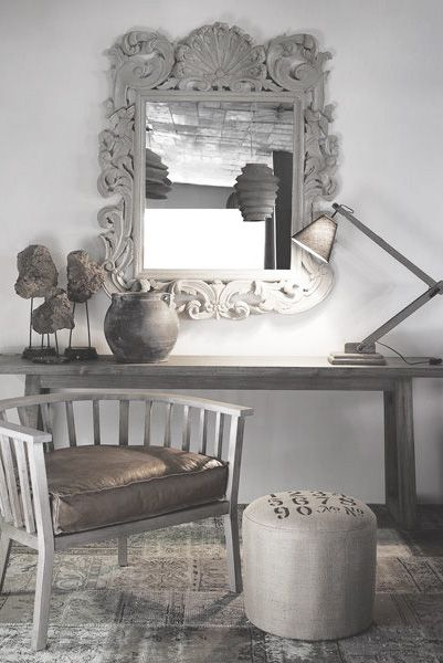 Charcoal & Grey accents for open wall space in an entryway. Yes please.