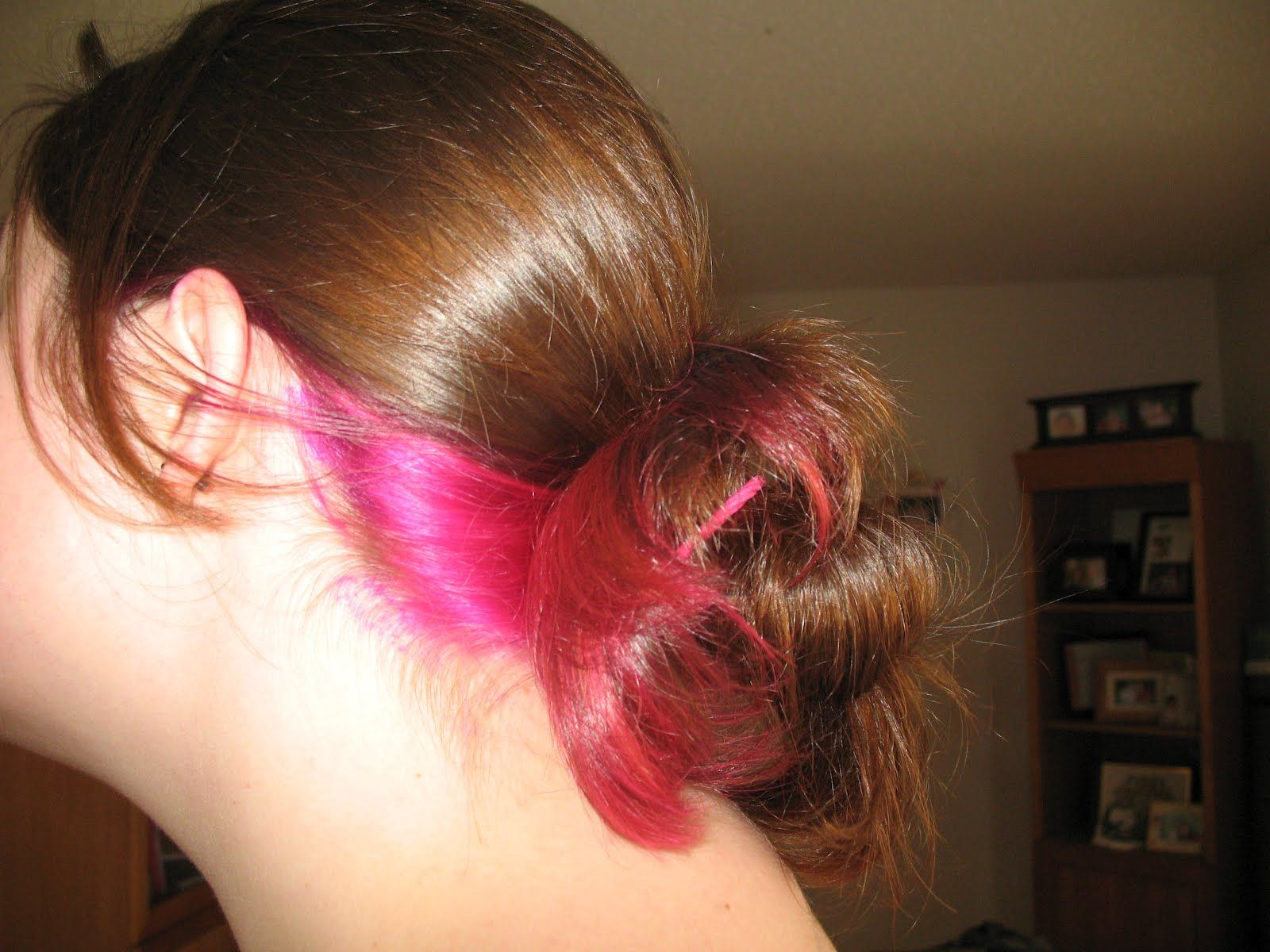 Pink And Purple Hair Styles: Brown Hair With Pink And Purple Underneath