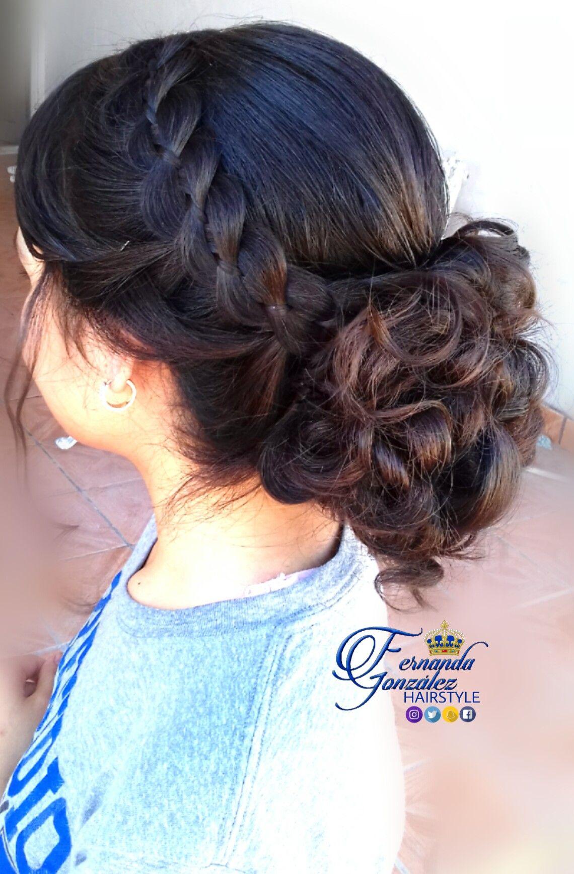 Lindo y sin esfuerzo peinados de trenza Galería De Consejos De Color De Pelo - Peinado recogido elegante, decorado con una trenza de ...