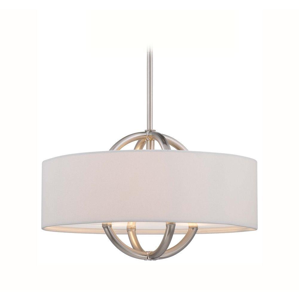 modern drum pendant lighting. George Kovacs Lighting Modern Drum Pendant Light With White Shade In Brushed Nickel Finish P075-