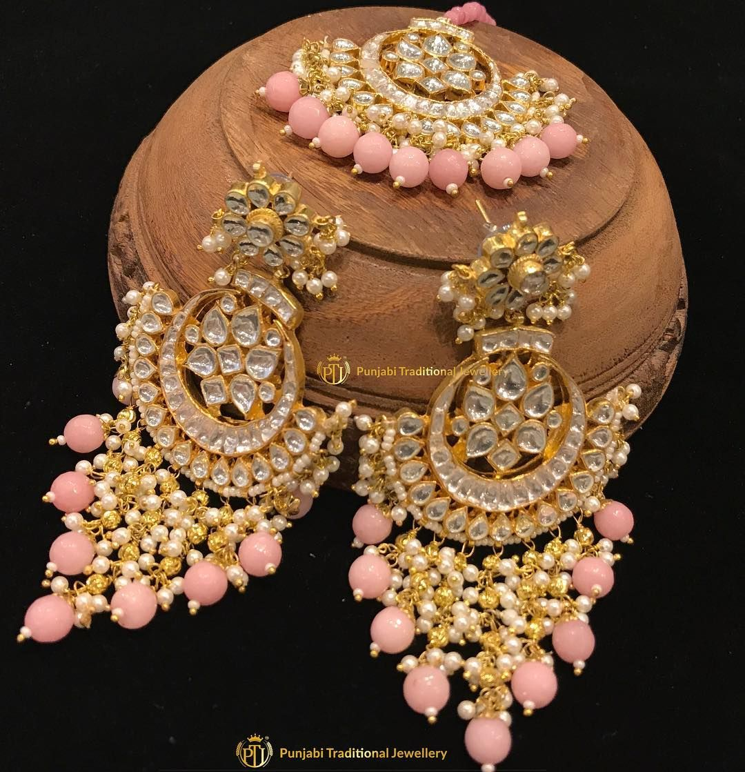 1db69567a Gold Plated Pink Kundan Earrings Tika Set BY PUNJABI TRADITIONAL JEWELLERY  Make this kundan sizzler yours before its gone!