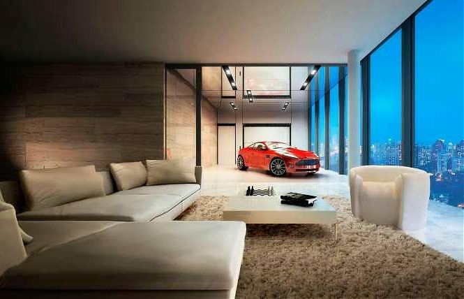 Luxury House And Car car elevator to park my car in my living room (you know, so it can